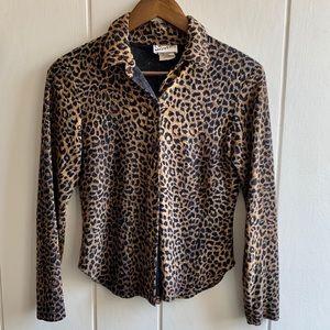 Vintage Leopard Print Button Front Blouse